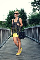 yellow DIY shoes - black River Island bag - dark brown Topshop top