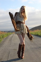 nude lace Kimchi Blue dress - crimson Jeffrey Campbell boots