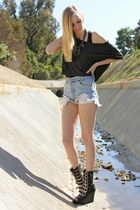 blue Levis shorts - black crop top H&M top - black Jeffrey Campbell wedges
