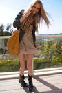 Green-ecote-jacket-beige-kimchi-blue-dress-yellow-f21-purse-black-shoes-