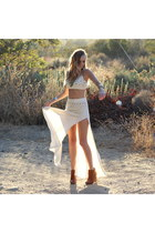 white high slit maxi For Love & Lemons skirt - tawny Zara boots