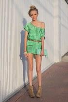 chartreuse Zara dress - aquamarine Deena & Ozzy bag - bronze leopard print Forev