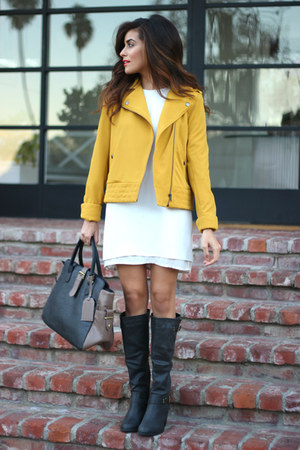 mustard Greylin Collection jacket - dark gray just fab boots - white Zara dress