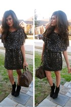 sequins dress GINA TRICOT dress - black booties Charlotte Russe boots