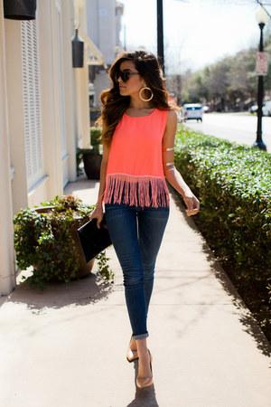 navy skinny Black Orchid Denim jeans - number one Karen Walker sunglasses