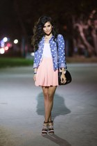polka dot denim Fire Los Angeles jacket - shoulder bag H&M bag