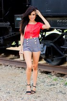 navy stripe Forever21 shorts - red lanston t-shirt - black Zara sandals
