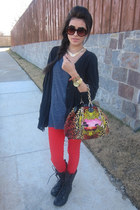 leopard handbag versace x h&m bag - military style Forever21 boots
