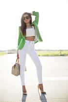 white Guess jeans - chartreuse Zara blazer - black Celine sunglasses