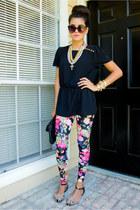 floral leggings H&M leggings - cat eye Urban Outfitters sunglasses