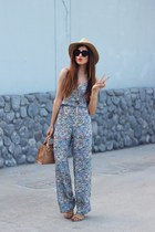 mini Bebe bag - Bebe sunglasses - floral jumpsuit Topshop jumper