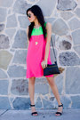 Hot-pink-love-dress-black-forever21-bag-aviators-rayban-sunglasses