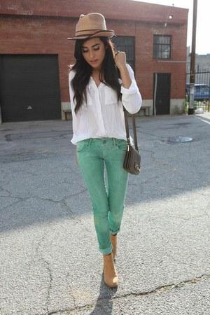 green denim Zara jeans - camel camel booties H&M boots