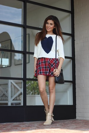 ruby red plaid mini asos skirt - beige Forever 21 boots - ivory Love sweater