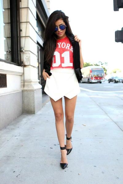 white skort leather Luna B skirt - black pointed toe Jeffrey Campbell heels