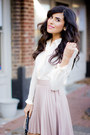 Beige-pleated-love-skirt-off-white-button-down-luna-b-shirt