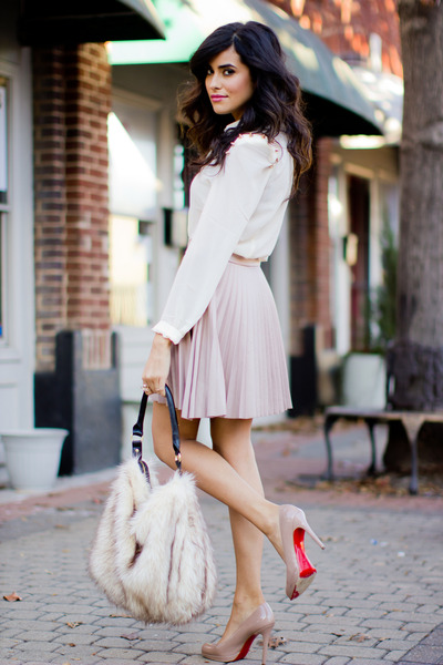 beige pleated Love skirt - off white button down Luna B shirt