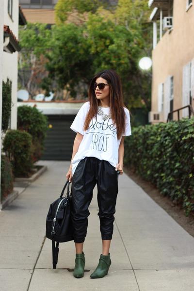 white graphic tee tdolmel shirt - green wedges Seychelles shoes - black Zara bag