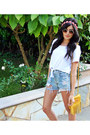 Round-vida-kush-sunglasses-crop-top-monki-shirt-fringe-cut-n-paste-bag