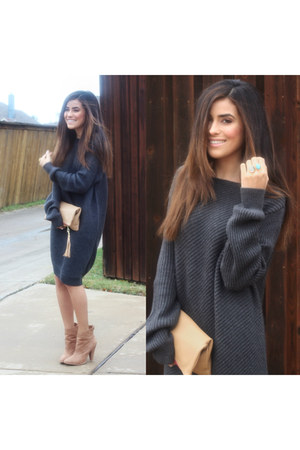 boots boots - Target sweater - clutch kslademade bag - innaya couture ring
