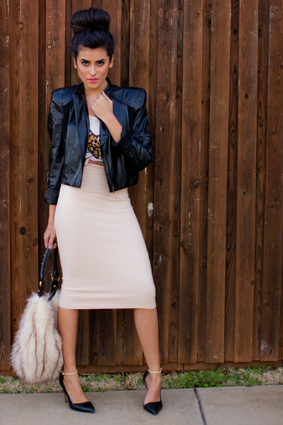 light pink Love skirt - black leather Forever21 jacket
