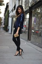 navy sequin sleeves Lovers and Friends jacket