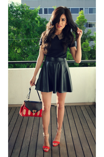 black leather skirt Forever21 skirt - red F&W Style bag - red Zara flats