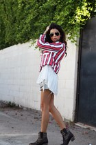 cowboy Ariat boots - striped Zara jacket - GINA TRICOT blouse