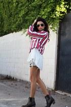 cowboy Ariat boots - striped Zara jacket - GINA TRICOT blouse