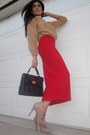 Deep-purple-forever21-bag-tan-christian-louboutin-heels-red-vintage-skirt