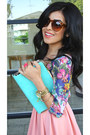 Floral-nordstrom-rack-shirt-aquamarine-clutch-luna-boutique-bag