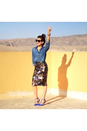 Joa skirt - Halogen shirt - Celine sunglasses - gold Michael Kors watch