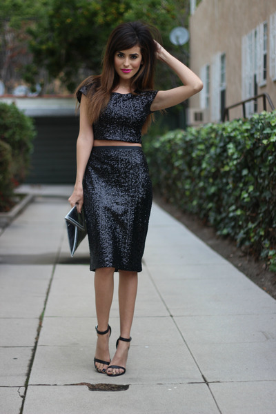 black sequins Express top - black sequins Express skirt