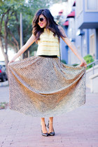 Love skirt - light yellow crop top lace Forever21 shirt