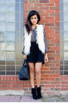 eggshell faux fur vest Forever21 vest - black suede booties Forever21 boots