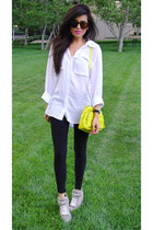 black H&M leggings - white button down Bella Dahl shirt