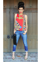 red scarf print Lovers and Friends top - navy boyfriend jeans Gap jeans