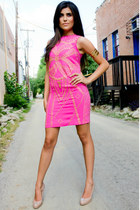 hot pink Versace x H&M Collection dress - beige nude Christian Louboutin heels