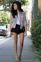 quilted floral Zara jacket - ZooShoo bag - 2020AVE shorts - Shoedazzle sandals