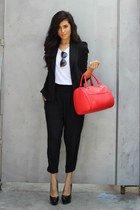 tee Nordstrom shirt - knitted three dots blazer - hinged satchel Express bag