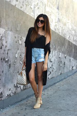black Nordstrom cardigan - Forever 21 boots - Levis shorts - Celine sunglasses