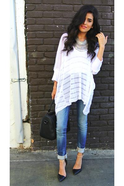 white bamboo Sunday Rocks shirt - navy skinny jeans Zara jeans