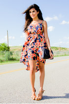 floral print Forever21 dress - textured Forever 21 bag