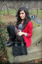 fur handbags H&M bag - Forever21 blazer - Michael Kors watch - YSL ring