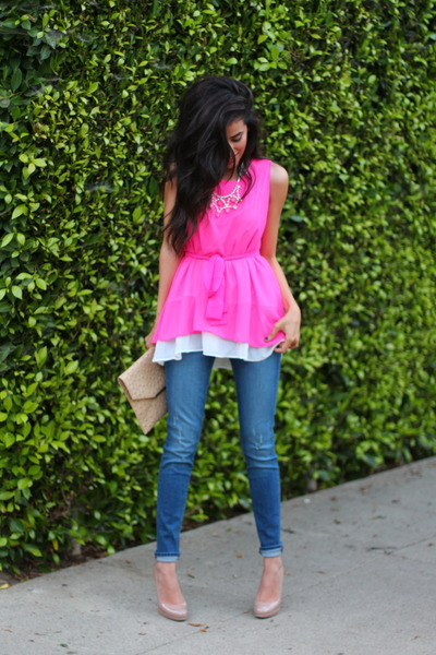 navy denim Rich and Skinny jeans - hot pink Sheinsidecom dress