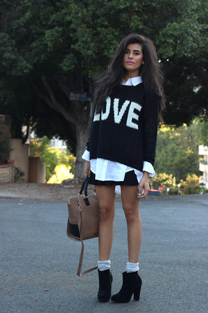 black 2020AVE sweater - black Luna B boots - white Zara shirt