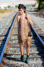 Green-lace-up-boots-forever21-boots-light-brown-snake-skin-luna-boutique-dress