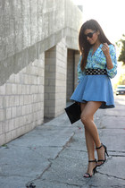 sky blue floral Lovers and Friends top - denim a-line H&M skirt