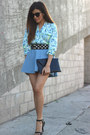 Sky-blue-floral-lovers-and-friends-top-denim-a-line-h-m-skirt