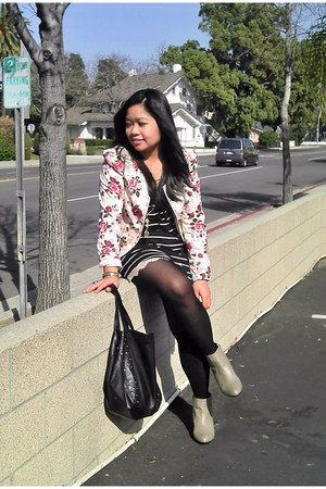 ankle boots H&M boots - floral H&M jacket - lace Kimchi Blue shorts - stripes co